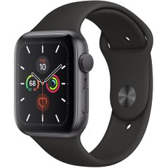 Apple Watch Series 5 GPS 44mm Space Gray Aluminum Case with Black Sport Band (MWVF2)