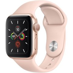 Apple Watch Series 5 GPS 40mm Gold Aluminium Case with Pink Sand Sport Band (MWV72)