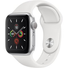 Apple Watch Series 5 GPS 44mm Silver Aluminium Case with White Sport Band (MWVD2)