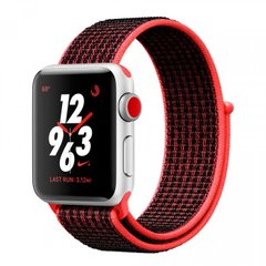 Apple Watch Series 3 Nike+ 38mm GPS+LTE Silver Aluminum Case with Bright Crimson/Black Nike Sport Loop (MQL72), Silver