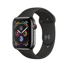 Apple Watch GPS + CELLULAR 44 mm Space Black Stainless Steel Case with Black Sport Band (MTX22)