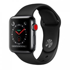 Apple Watch Series 3 38mm GPS+LTE Space Black Stainless Steel Case with Black Sport Band (MQJW2), Space Black
